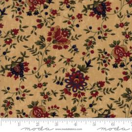 Gooseberry, beige ondergrond, rode, grote bloemen