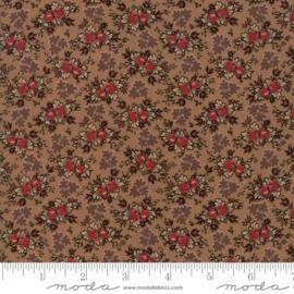 Harriet's - Midden bruin met bloemtoefjes in rood en bruin