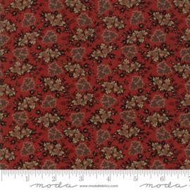 Harriet's - Donker rood met bloemtoefjes in bruin en taupe