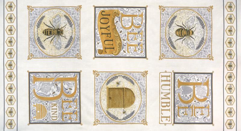 Panel ecru met bijen & tekst