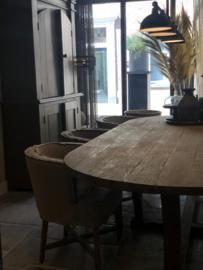 Eettafel ovaal oud hout 300x130 cm