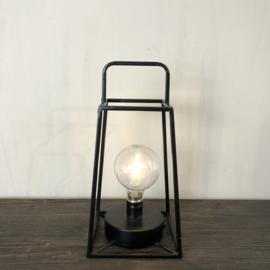 Lantaarn met LED-verlichting van zwart staal - 13x13x30 cm