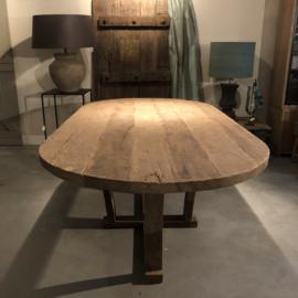 Eettafel ovaal oud eiken 220x110 cm