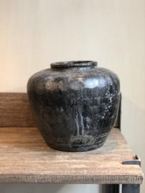 Pot zwart antiek 30 cm