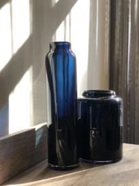 Langwerpige blauwe Dutz vaas - links