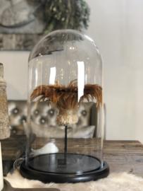 Stolp met cognac-bruine veren - 23x37 cm