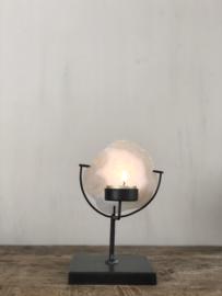 Waxinelichthouder Emmie - Zwart staal met agaat - 20x10x10 cm