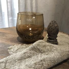 Windlicht Pot - Cognac bubble - H17 x D16 cm