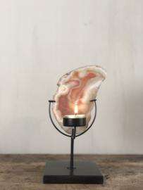 Waxinelichthouder Emmie - Zwart staal met agaat - 23x10x10 cm