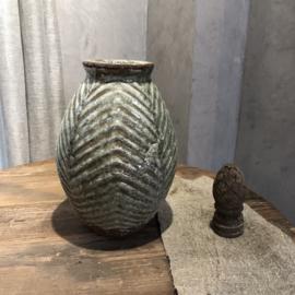 Pot groen met visgraat patroon - H32 x D23 cm