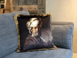 Kussen met opdruk van Oosterse man met tulband - 45x45 cm