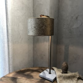 Tafellamp met boog - Leistenen voet, verstelbare fitting - 56 cm hoog