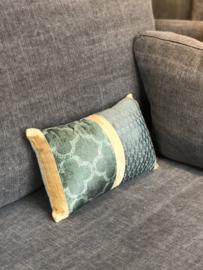 Kussen met groen/okergeel patchwork - 35x20 cm