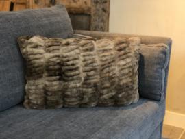 Kussen bruin faux-fur - 60x40 cm