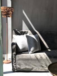 Vloerlamp Karin van roestig staal met kleine schijfjes - 150 x 32 cm