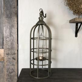 Lantaarn van antiek koper met glas en ophanghaak - 28x85 cm
