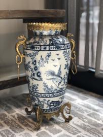 Vaas verfijnd aardewerk blauw-wit-goud