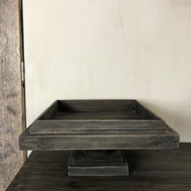 XL plateau op voet van vergrijsd hout