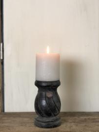 Kandelaar Lilly - Zwart hout - 11x11x18 cm