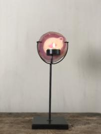 Waxinelichthouder Emmie - Zwart staal met agaat - 31x10x10 cm