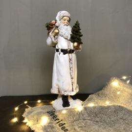 Beeld kerstman met boom 31 cm