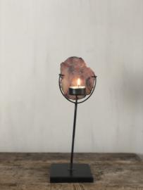 Waxinelichthouder Emmie - Zwart staal met agaat - 32x10x10 cm