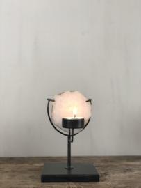 Waxinelichthouder Emmie - Zwart staal met agaat - 18x10x10 cm