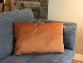 Kussen oranje/cognac velours - 40x60 cm
