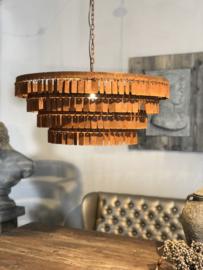 Hanglamp Stephanie - Roestige plaatjes metaal - 70x40x30 cm