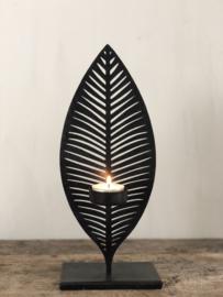 Waxinelichthouder Lies - Zwart metaal - Medium
