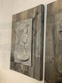Schilderij Scipione van beton en hout - Set van 2! - 70x58 cm