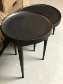 Bijzettafel zwart metaal 49 cm