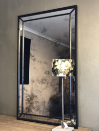 Facet geslepen spiegel met zwarte lijst - 74x120 cm