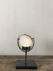 Waxinelichthouder Emmie - Zwart staal met agaat - 17x10x10 cm