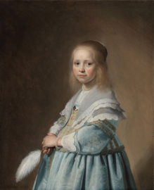 Schilderij 'Girl in blue dress' op canvas - 120x150 cm