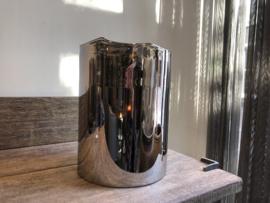 Metallic windlicht met gekartelde rand 31 cm