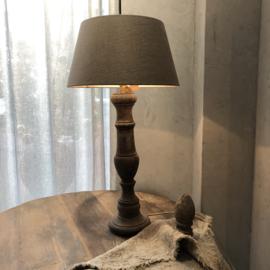 Tafellamp van hout - antiek finish - compleet!
