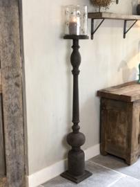 Vloerkandelaar van vergrijsd hout - 133x23x23 cm