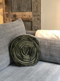 Rond kussen in donkergroene glansstof met rozenpatroon - 40 cm