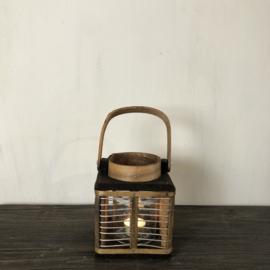 Lantaarn van donkerbruin hout en glas - 12x12x13 cm
