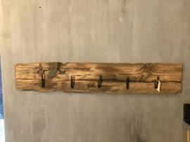 Kapstok met 5 haken van grof hout - 100x20 cm