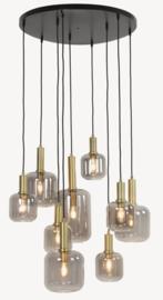 Hanglamp Lies met 9 lampen in metallic smoke kleur met goud