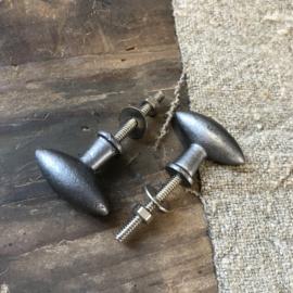 Deurknop van donkergrijs metaal - 3x5x3 cm