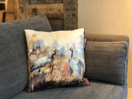 Kussen met kraanvogels - 43x43 cm