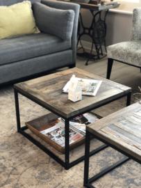 Salontafel met houten blad en zwart stalen frame - 60x60 cm