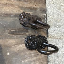 Deurknop van sierlijk gietijzer met ring - 5x2x5 cm