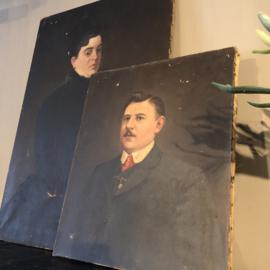 Schilderij dame (links)
