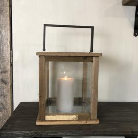 Houten lantaarn met ijzeren ophangbeugel - 32x32x34 cm