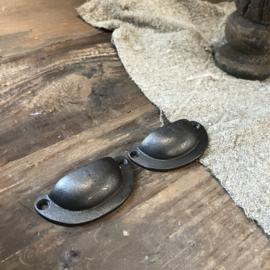 Deurknop bronskleur schaaltje - 7x3 cm