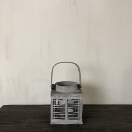 Lantaarn van vergrijsd hout met glas 12x12x13 cm